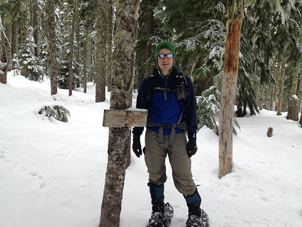 Ploss rocking his Vasque Snow Junkie UltraDry boots with snowshoes