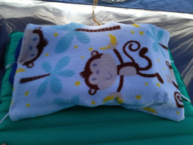 Monkey Pillow containing Klmit Cush Pillow, folded in half and attached to NeoAir All Season pad