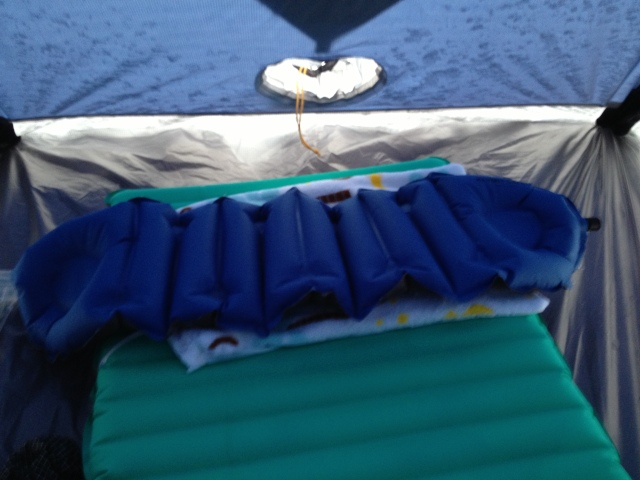 Klymit Cush inflatable pillow used for testing