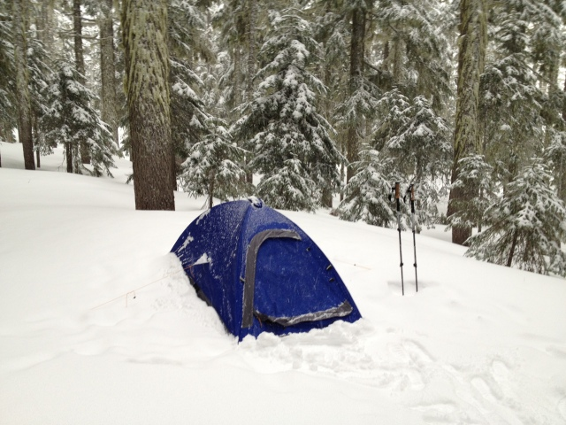 Deep snow and sub freezing temperatures in Oregon's Mt. Hood National Forest, elevation 4300'